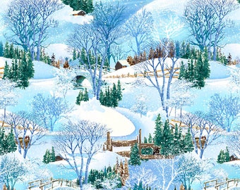 Snow Fabric, Winter Fabric, Woodland Fabric - Snowy Christmas for Exclusively Quilters 61461 2GL - Priced by Half yard