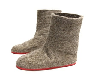 Eco Friendly Valenki Winter Boots Womens Boots, Booties Felt Boots Felted Slippers Brown Boots, Eco Wool Shoes, Ladies Slipper Boots Outdoor