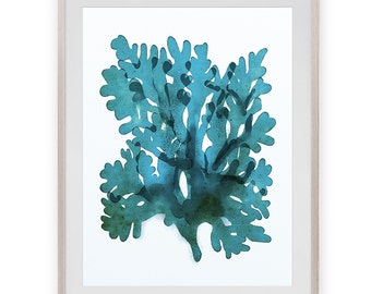 Nautical Art, Printable art, Aqua Blue Seaweed Art, Nautical Art , beach house decor, Download art, bathroom art, Indigo Blue art, 12x16