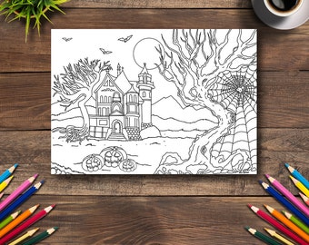 Halloween Coloring Page #6 - DIGITAL (Printable PDF Illustration, Day of the Dead Art, Adult Coloring Books, Pumpkins, Old House, SpiderWeb)