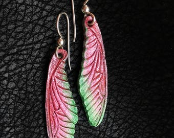 Dragonfly Wings Leather Earrings - Sterling Silver Ear Wires Pink, Green , & White