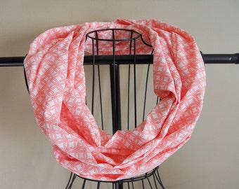 Fabric Infinity Scarf Coral and White Interlocking Circles