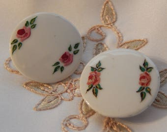 Roses and Green Leaves - Antique White Porcelain Stud Buttons - 2