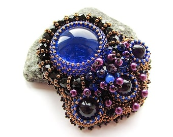 Bead Embroidered Cobalt Blue Brooch Embroidery Blue Purple Brooch Czech Glass Beads OOAK Jewelry Ready to ship