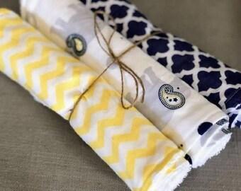 Navy Blue and Yellow Elephant, Chevron, and Quatrefoil Burp Cloth Set