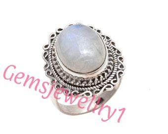 Moonstone Ring, Rainbow ring, silver Moon Stone ring,silver ring,  stone ring,92.5 sterling silver, US size 5 6 7 8 9 10 11 12   12