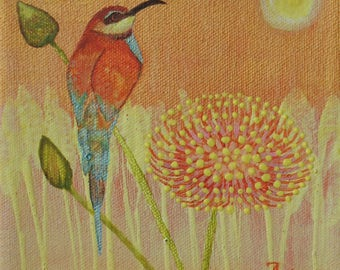Original Bee Catcher Bird And Wild Flowers Acrylic Painting 6 by 6 inches on stretched canvas