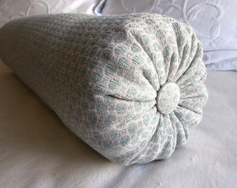 patina blue chenille decorative Bolster Pillow 6x14  6x16  6x18  6x20  6x22