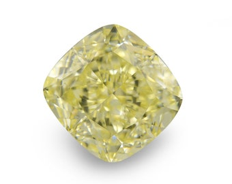 Natural Yellow Diamond, 0.53cts VS2 Square Cushion Shape Diamond, Loose Diamond, Diamond Birthstones, Certified Diamond, GemMartUSA (LD0046)