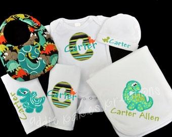 Personalized Dinosaur Baby Gift Set / Bodysuit, Cap, Blanket, 2 Burpcloths and Bib