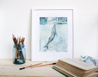 Heart of the Sea - Watercolor whale and girl illustration print. Whimsical ocean art print
