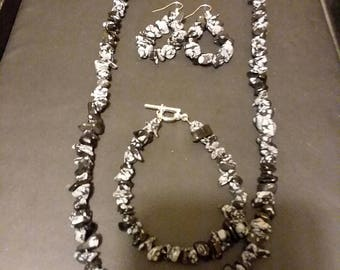 Snowflake obsidian necklace bracelet and earrings set.