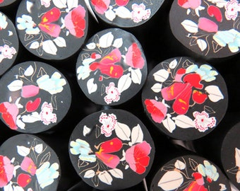 Polymer clay red flowers cane in Fine style