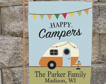 Personalized Any Message Camper Flag, Happy Camper, Home is Where you we Park It, Custom Camp Flag, Campsite Marker