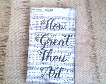 How Great Thou Art Hymnal Wall Art with Fancy Lettered Font Plaque