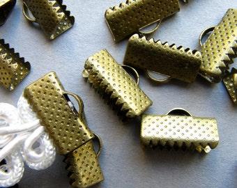 20pcs. 13mm or 1/2 inch Antique Bronze Ribbon Clamp End Crimps