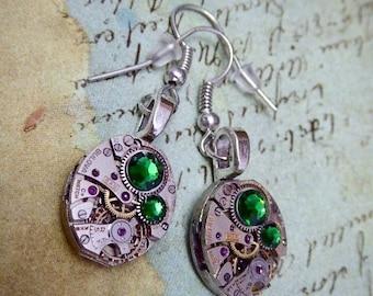 Steampunk ear gear - Emerald - Steampunk Earrings - Repurposed art