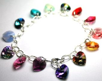 Crystal Hearts Bracelet - Rainbow of Hearts Bracelet - Swarovski Crystal And All Sterling Silver Charm Bracelet