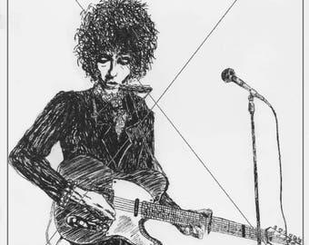 Bob Dylan original Ink drawing print