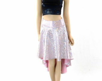 Silver on Baby Pink Shimmering Hologram Sparkly Scale Mermaid Hi-Lo Skirt  151874
