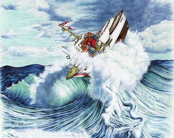 Coast Guard Sea Rescue Large Canvas Print. Rogue wave painting, home boat décor by Betsy Baytos Design art for wall décor.
