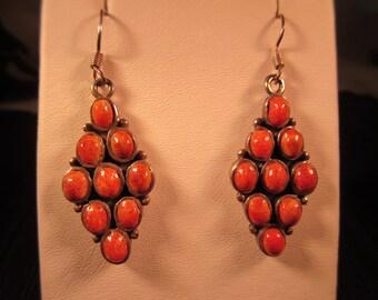 Boho Sterling Silver Coral Earrings