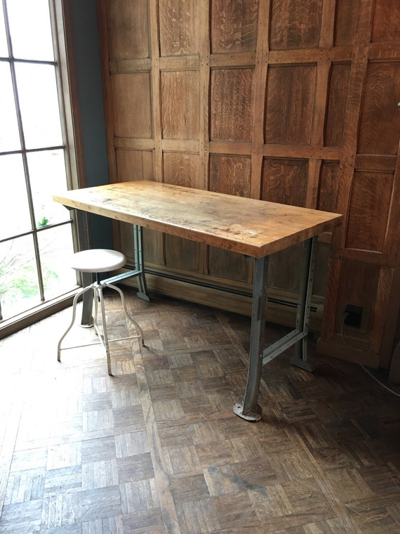 Industrial Workbench Table with Butcher Block Top, Vintage Wood and Metal Desk, Industrial Desk, Distressed Workbench Desk