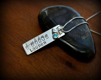 ASL necklace, Sign language jewelry, Personalized sign language necklace