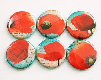 Poppy Magnets, Flower Magnets, Turquoise, Red, Magnets, button magnets, Flowers, Kitchen Magnets, Poppies, stocking stuffer (3386)