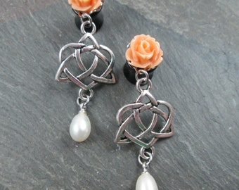 Dangle Plugs - 10g - 8g - 6g - 4g - 2g - 0g - Celtic Heart - Plug Earrings - Wedding Plugs - Dangle Bridal Gauges - Rose and Pearl