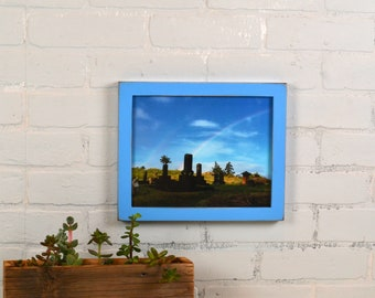 8x10 Picture Frame in 1x1 Flat Style with Vintage Blue Finish - IN STOCK - Same Day Shipping - Rustic Solid Wood Frame 8 x 10
