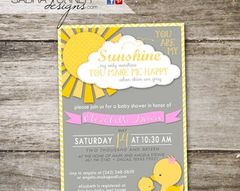 Ducky Baby Shower • You Are My Sunshine Baby Shower • You are My Sunshine Shower Invitation • Gray Pink Shower Invitation