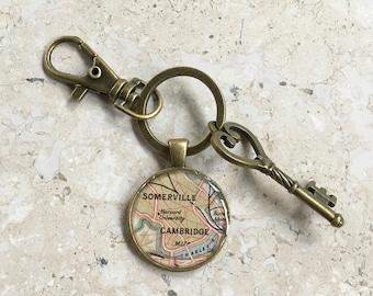 Harvard University Keychain Bronze with Ring Swivel Clasp and Key  Cambridge  Vintage Map