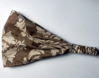 Yoga Headband Cotton Bandana - Verna Mosquera for Free Spirit, Pirouette, French Damask in mocha fabric