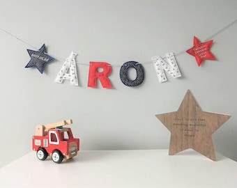 Personalised Bunting, Name, Letter Banner, Nursery Decor, Children's Bedroom, Nautical Garland, Red, Blue, Boys Room, Pirate