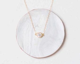 Crystal Diamond Layering Necklace - Trendy 2017 Layering Necklace - Gold Layering Necklace - Small Delicate Gold Layering Necklace