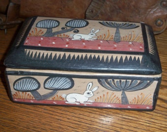 Vintage Handmade Pottery Clay Trinket Box Jewelry Lidded Mexico Rustic Primitive