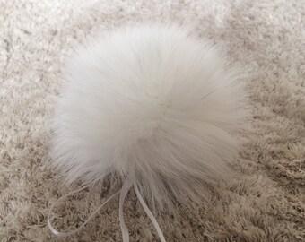 Real Fur Pom Pom Hat Raccoon Pompom Fox Fur Pompom Large Pom Poms Fur Ball Detauchable to Hat by white  ribbons