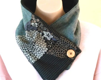 Japanese cotton Neck warmer - Black Kiku