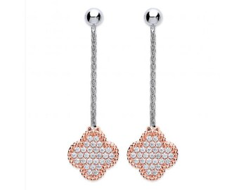 Silver with Rose Coated Four Leaf Cz Clover Drop Earring