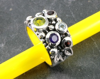 Precious stones and 925 Sterling Silver Ring  --  5013
