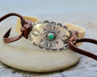 Sterling Concho Green Turquoise Cuff Bracelet . Repurposed . Leather . Vintage Sterling Concho . Southwestern .