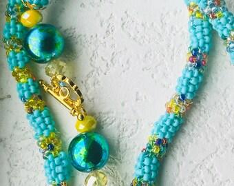 Seafoam green peyote necklace