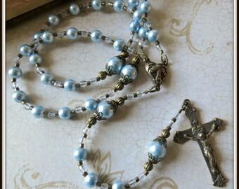 Custom Rosary for Baptism in Powder Blue Swarovski Pearl, Catholic Baptism/Christening Gift