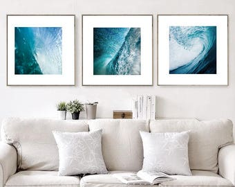 Abstract Wave Art Prints Set of 3 Modern Nautical Decor Ocean Prints, Large Wall Art, Coastal Prints Waves Printable Digital Download