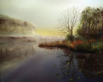 Landscape painting - seascape in autumn oil painting