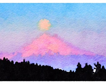 Mt. Hood in the moonlight Watercolor Print