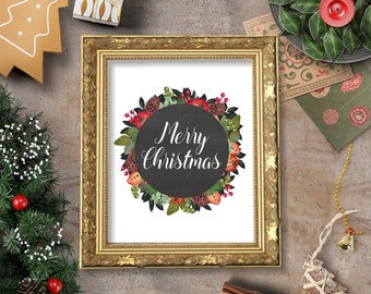 Merry Christmas Art Printable - 8x10 - Instant Download Holidays December Christmas Carol Snow Kids Children Home Decor