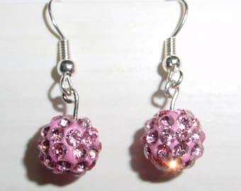 Fuchsia rhinestone earrings