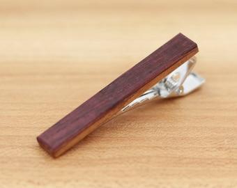 Wine Barrel Wood Tie Clip - Groomsmen gift - 5th Wedding Anniversary Present - 2 inch Long Tie Bar